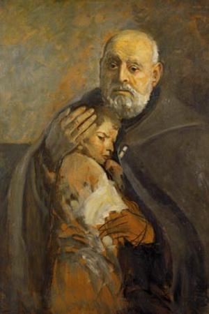 "Leon Wyczółkowski """"Brother Albert hugging a baby"", oil on canvas, 1934. Albertine Brothers General House, Kraków"