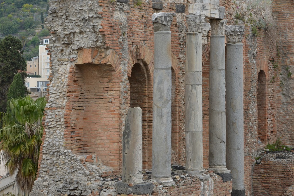 Corinthian columns in Greek Theater in Taormina