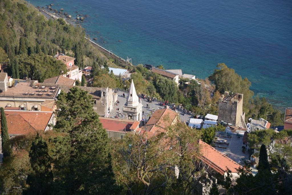 A view to Piazza IX Aprile from Santuario Madonna della Rocca