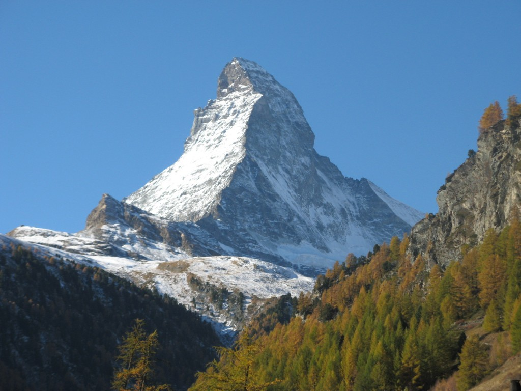 View of the Matterhorn from the trail above Zermatt